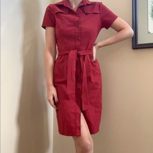 Mexx Red Belted Button-up Dress